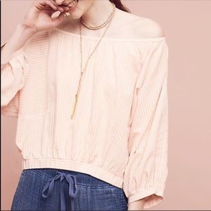 Anthropologie striped aria off the shoulder top